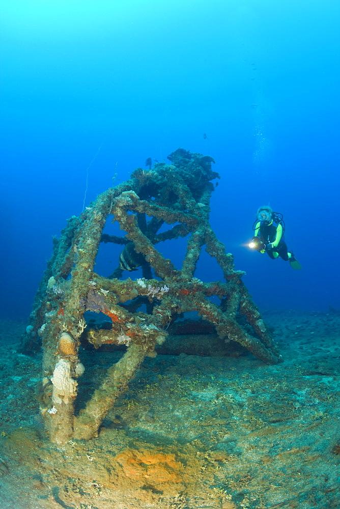 Diver and Blast Tower on Flight Deck of USS Saratoga, Marshall Islands, Bikini Atoll, Micronesia, Pacific Ocean