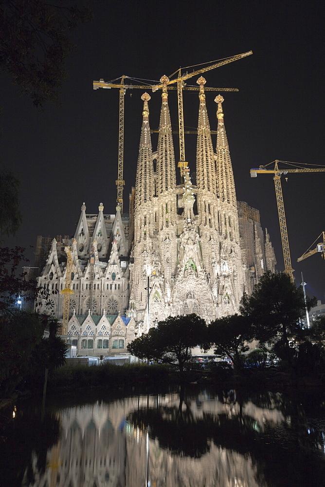 Cathedrale La Sagrada Familia of Architect Antoni Gaudi by Night, Barcelona, Catalonia, Spain
