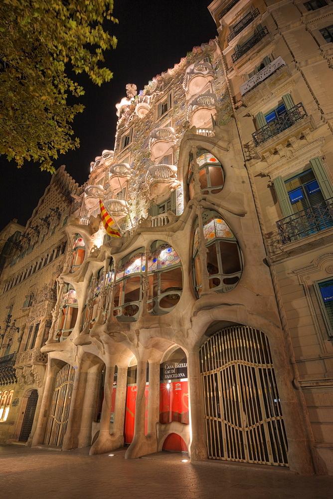 Facade of Casa Batllo of Architect Antoni Gaudi, Barcelona, Catalonia, Spain