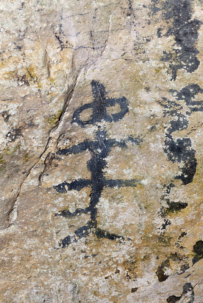 Pre-Columbian Rock paintings inside La Linea Limestone Cave, Los Haitises National Park, Dominican Republic, West Indies, Central America