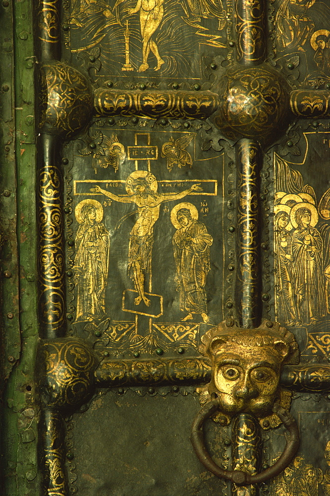 Detail of Crucifixion on the Nativity Door, Suzdal Cathedral, Russia, Europe - 76-3543