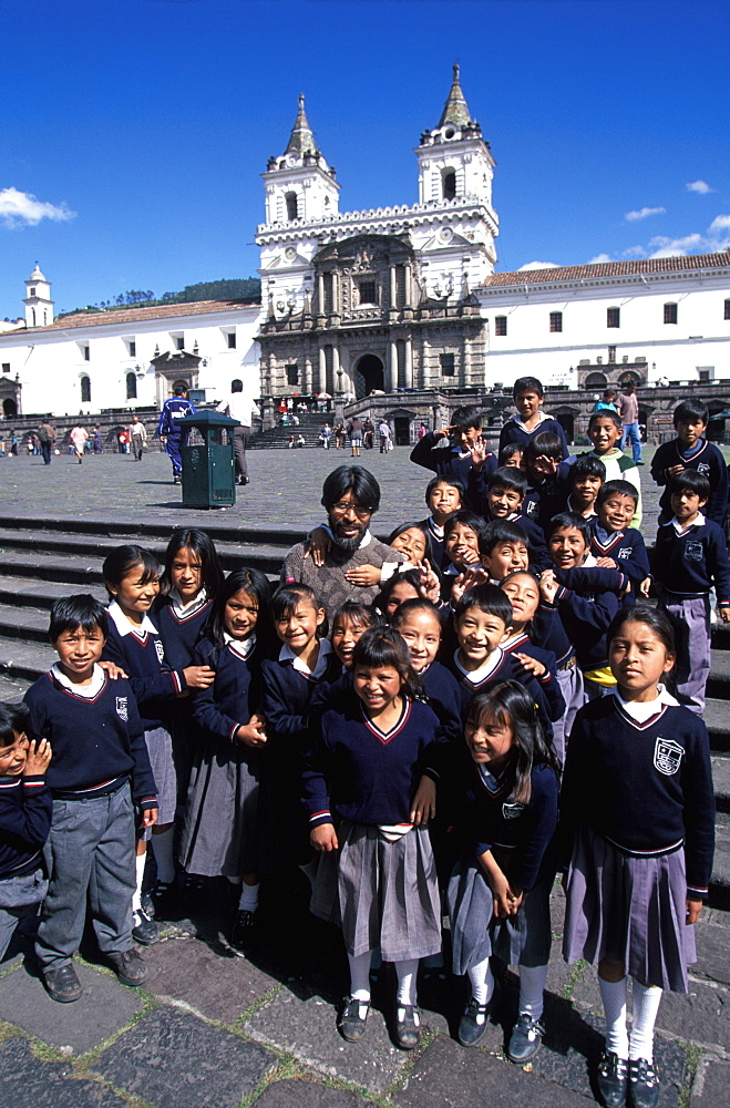 The Monastery of San Francisco 1534 to 1600 the largest colonial building in Quito on Plaza San Francisco, Old Town area with students, Quito, Ecuador