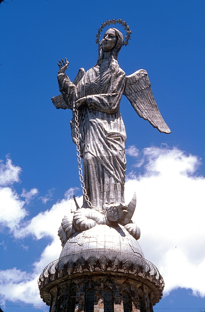 Statue of the Virgin of Quito on Cerro Panecillo, a hill dominating the old city, with observation deck and fine views, Quito, Ecuador