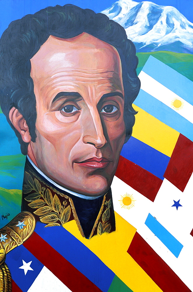 Portrait of Simon Bolivar, liberator of many South American countries from Spanish rule, Quito, Ecuador