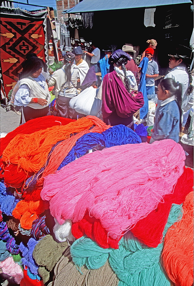 Otavalo, north of Quito is one of Latin Am's most famous markets for textiles, crafts and produce selling colorful yarns to weavers, Quito, Ecuador