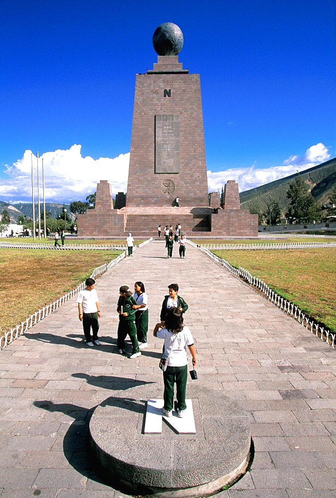 La Mitad del Mundo or Equator Monument, the line at latitude 0, that runs across Ecuador and from which the country gets its name, North of Quito, Ecuador