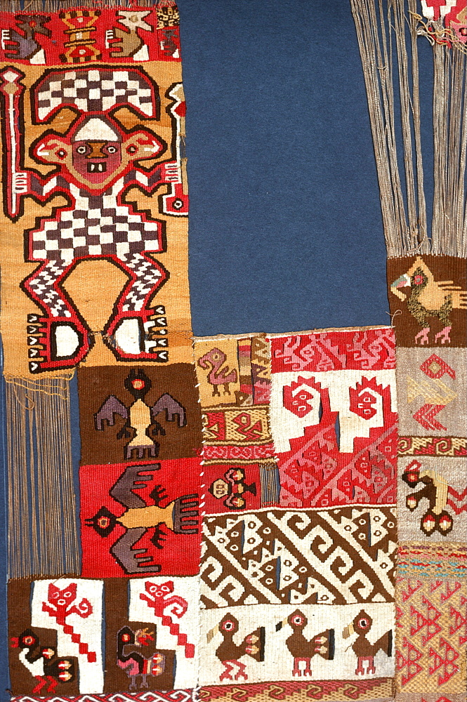Chancay Culture, 13C AD textile showing a catalogue of weaving styles and designs in the collection of the Museo Amano, Lima, Peru