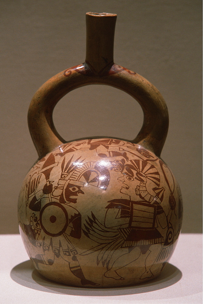 Mochica (Moche) Culture, 200BC-800AD north coast ceramic 'stirrup-spout' vessel with battle scene and warriors, Peru