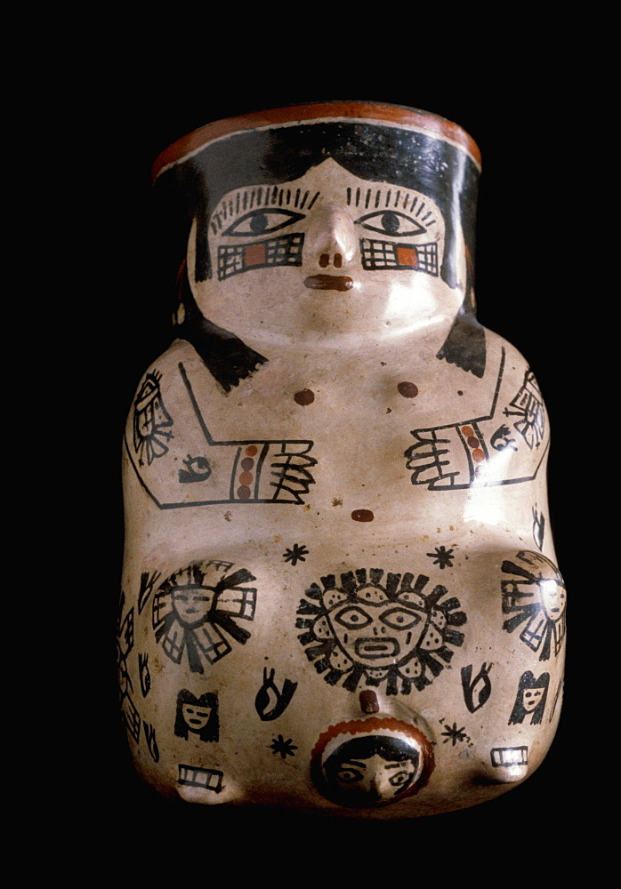 Precolumbian Ceramics Nazca Culture, 200-800AD vase showing a mother giving birth with mythical portraits in the collection of the Museo Amano, Lima, Peru