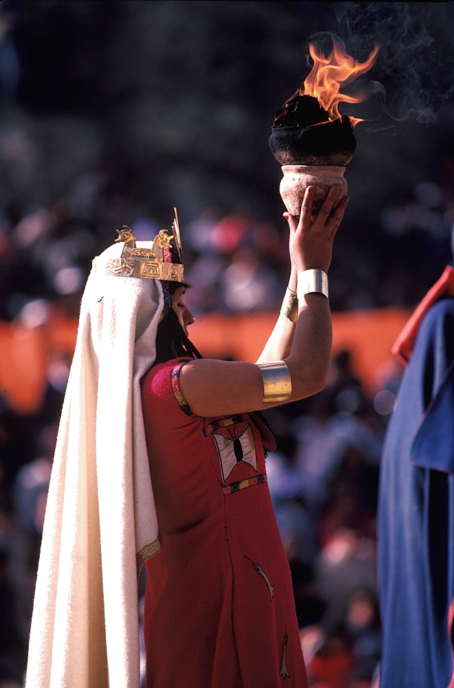 Inti Raymi the procession of offerings during the Incan Festival of the Sun, held at Sacsayhuaman, above Cuzco on June 24th, Peru
