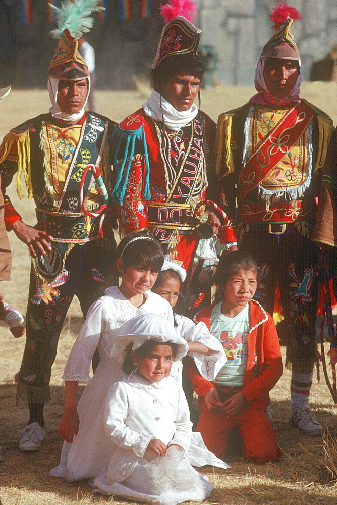 Inti Raymi dancers in traditional dress during the Incan Festival of the Sun, held at Sacsayhuaman, above Cuzco on June 24th, Peru
