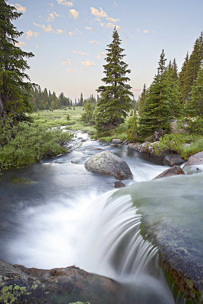 Little Bear Creek cascade at sunrise, Shoshone National Forest, Wyoming, United States of America, North America