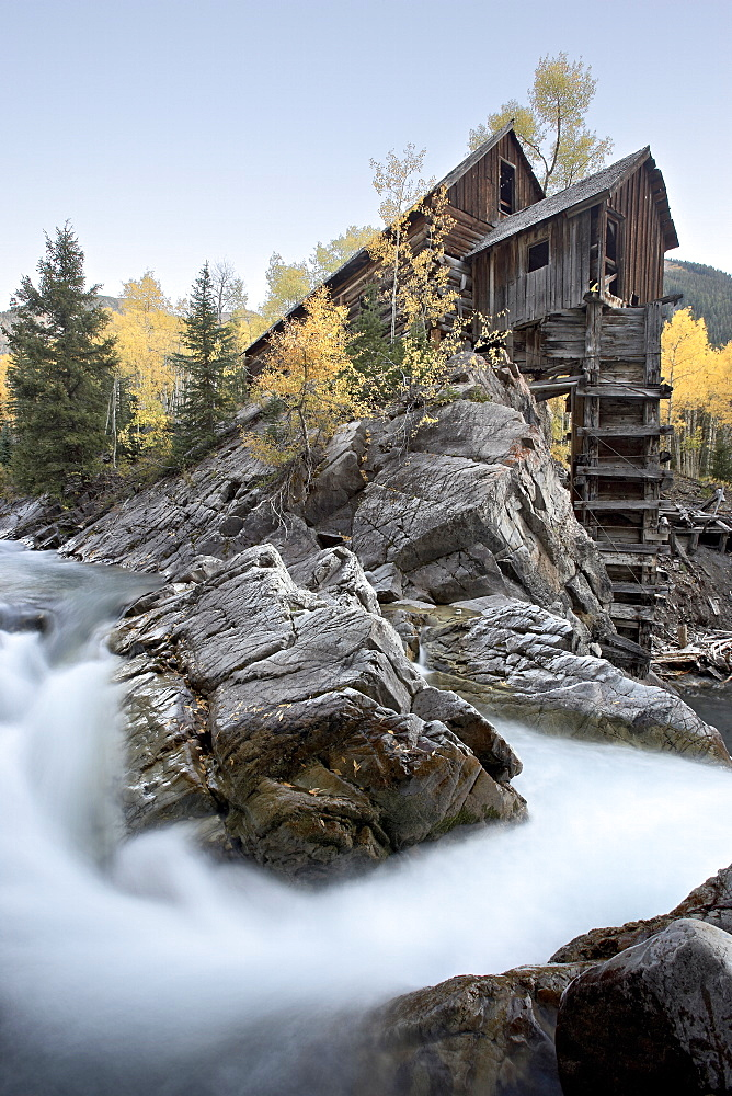 Crystal Mill with aspens in fall colors, Crystal, Colorado, United States of America, North America