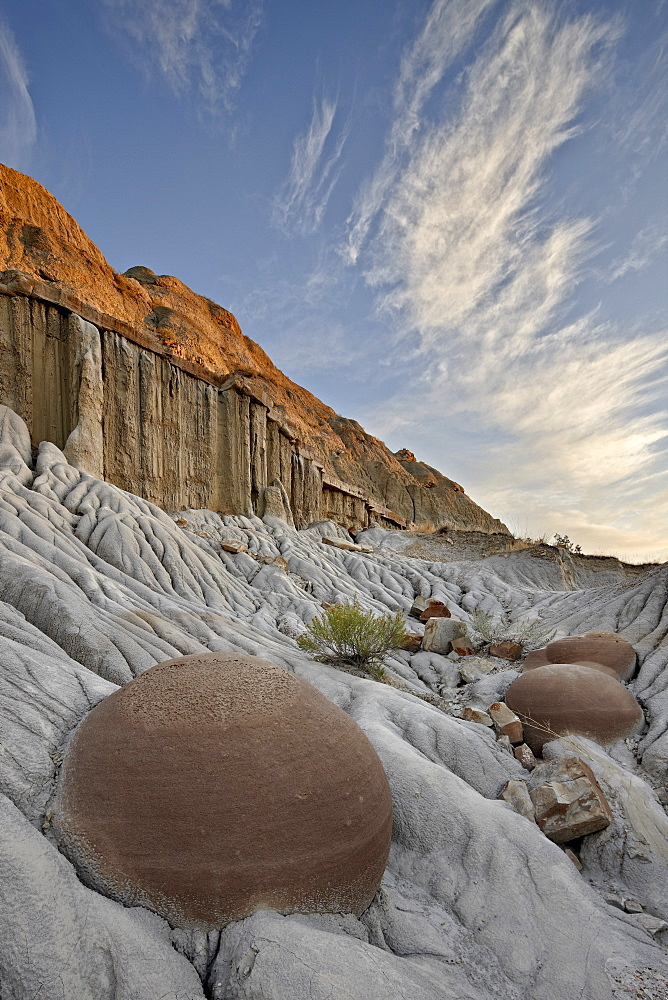 Cannon Ball Concretions in the badlands, Theodore Roosevelt National Park, North Dakota, United States of America, North America
