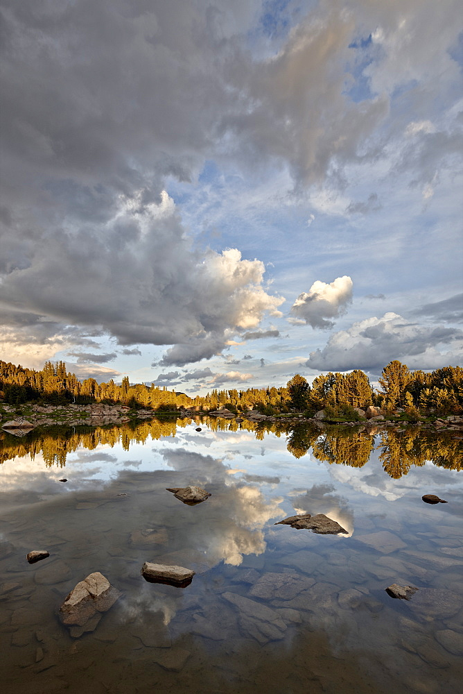 Clouds at sunset reflected in an unnamed lake, Shoshone National Forest, Wyoming, United States of America, North America