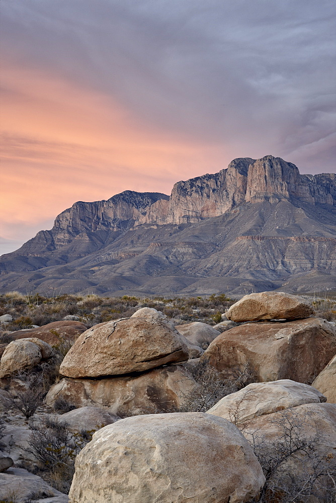 Guadalupe Peak and El Capitan at sunset, Guadalupe Mountains National Park, Texas, United States of America, North America - 764-3548