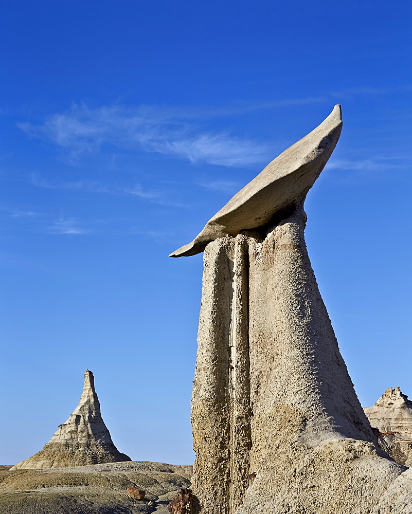 Hoodoo and cone, Bisti Wilderness, New Mexico, United States of America, North America