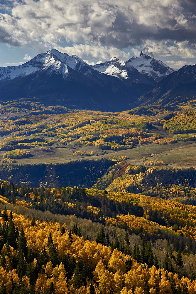 Lizard Head and yellow aspens in the fall, Uncompahgre National Forest, Colorado, United States of America, North America