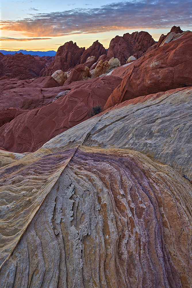 Sunrise over sandstone, Valley Of Fire State Park, Nevada, United States of America, North America