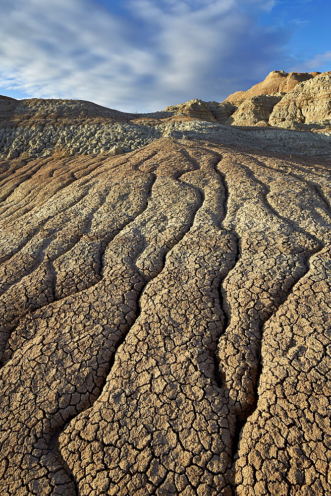 Cracks in eroded badlands, Badlands National Park, South Dakota, United States of America, North America
