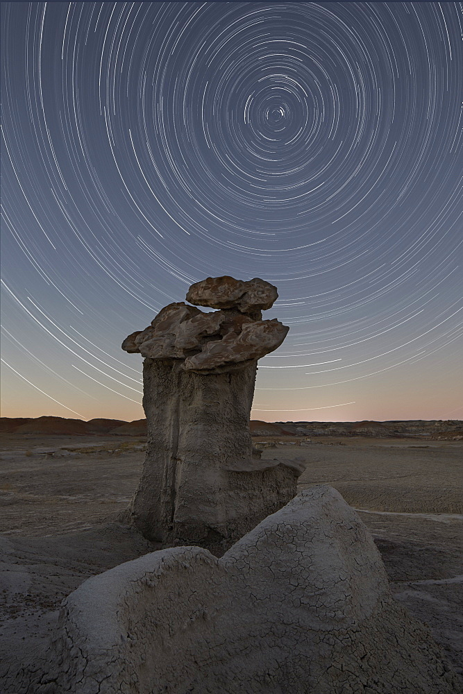 Hoodoo under the stars, Bisti Wilderness, New Mexico, United States of America, North America