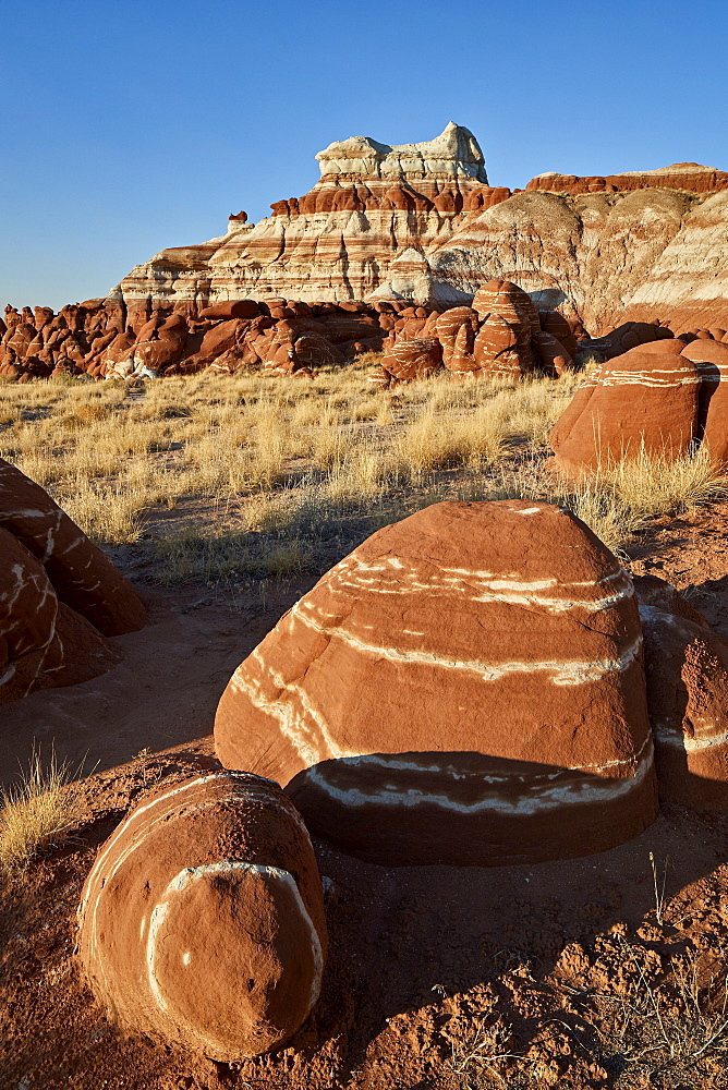 Striped red-rock boulders, Hopi Reservation, Arizona, United States of America, North America - 764-6240