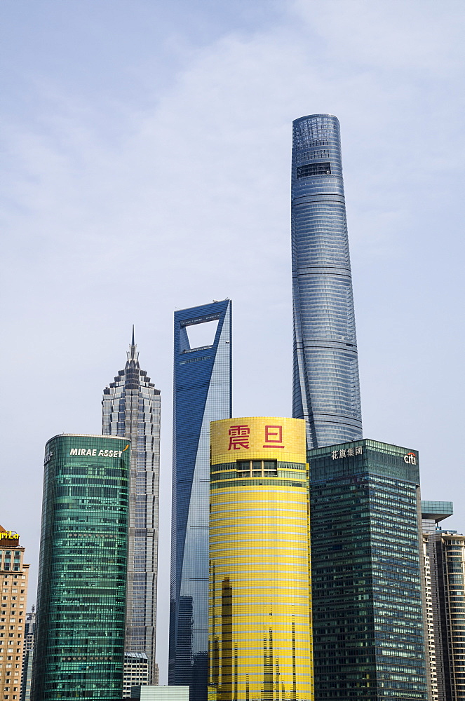 The Shanghai Tower, Jin Mao Tower, and the Shanghai World Financial Center on the Pudong skyline from the Bund, Shanghai, China, Asia