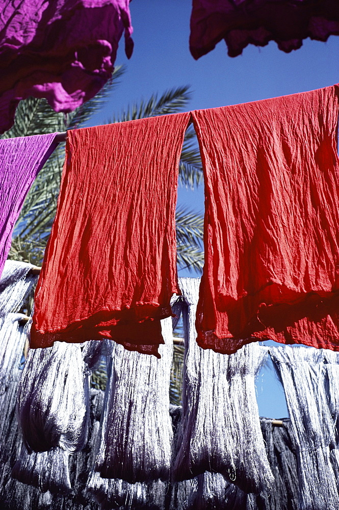 Red dyed cloth and silk drying, Marrakech, Morocco, North Africa, Africa - 769-2