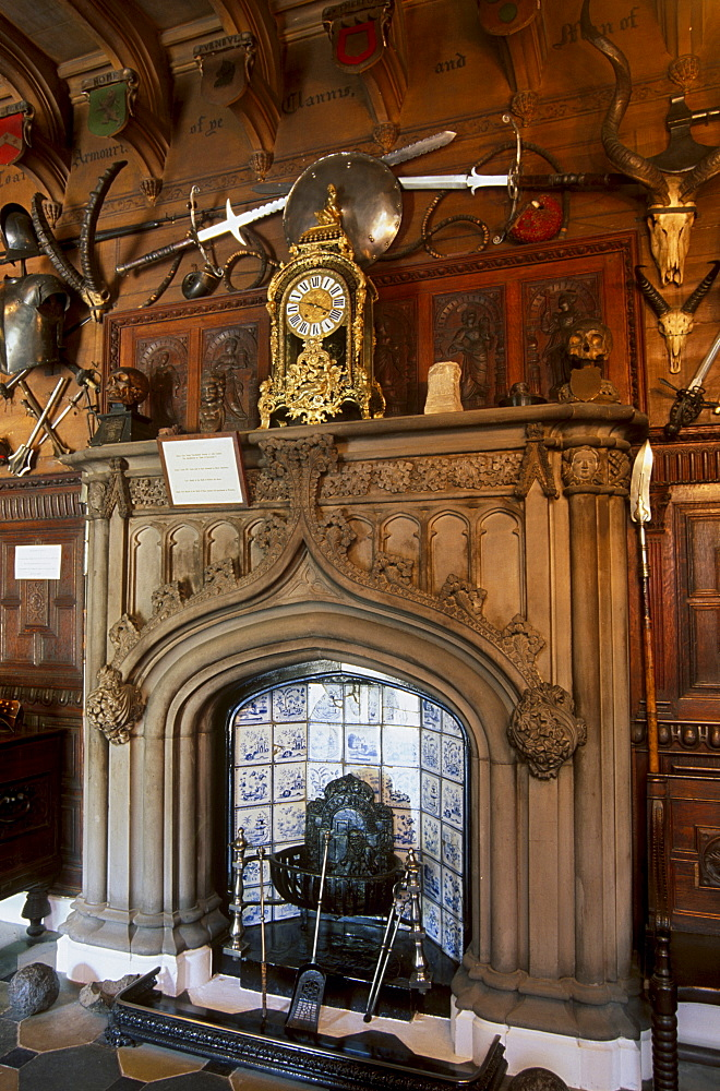 Fireplace in the entrance hall, in the house built to Sir Walter Scott's plan and where the writer lived from 1812 until his death 20 years later, Abbotsford House, near Melrose, Scottish Borders, Scotland, United Kingdom, Europe