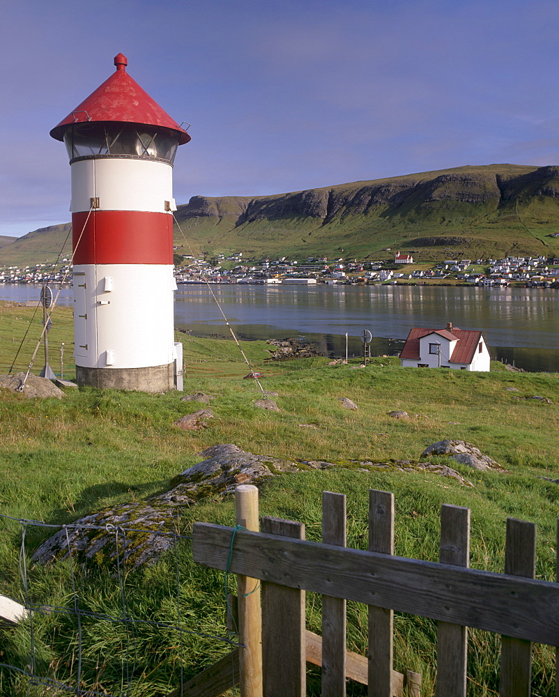 Tvoroyri village and lighthouse, Suduroy Island, Faroe Islands (Faroes), Denmark, Europe