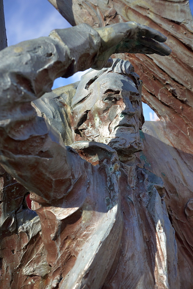 Statue of Nolsoyar Pall (Poul Poulsen Nolsoe), Faroese national hero, seaman, trader, poet, farmer, and boat builder, who in the early 19th century ran the first Faroese trading ship since Viking times, by Hans Pauli Olsen, Faroe Islands (Faroes), Denmark, Europe
