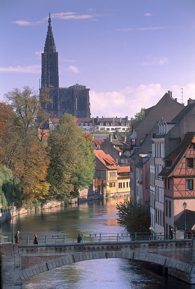 The Ponts Couverts (Covered-bridges) dating from the 14th century, over the River Ill, part of the Grande Ile, UNESCO World Heritage Site, with Petite France quarter and Cathedral in background, Strasbourg, Alsace, France, Europe - 770-1720
