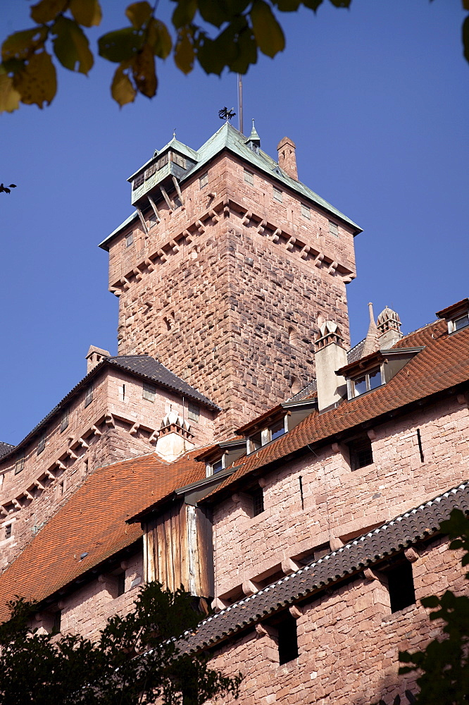 Haut-Koenigsbourg castle exterior walls and keep, a medieval castle overlooking the Rhine Plain, Haut Rhin, Alsace, France, Europe - 770-1752