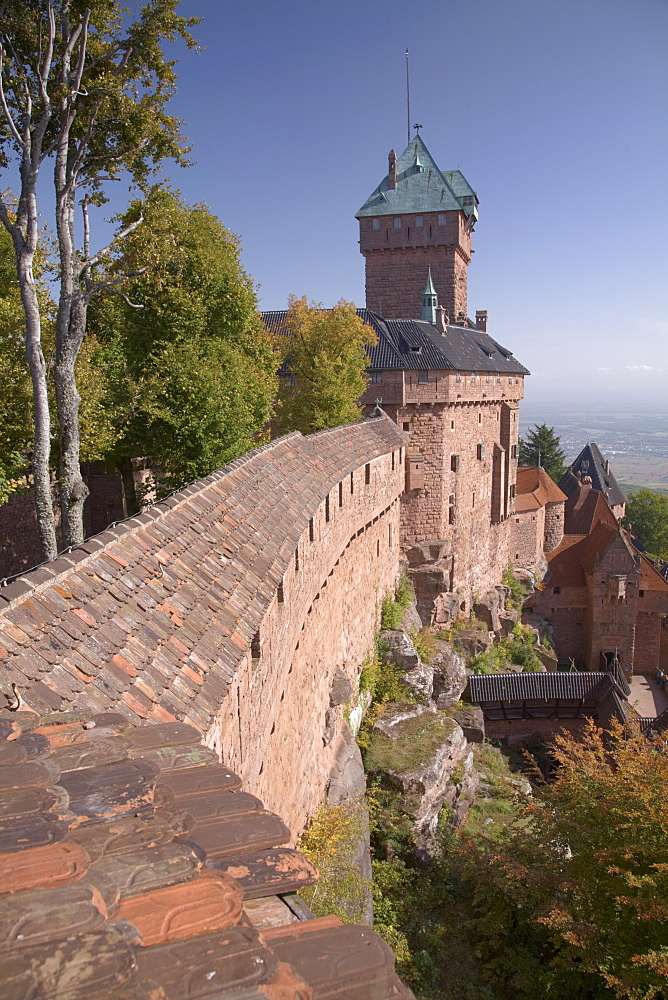 Haut-Koenigsbourg Castle, view of the exterior wall and keep overlooking the Alsace plain, from the grand bastion, Haut Rhin, Alsace, France, Europe - 770-1754