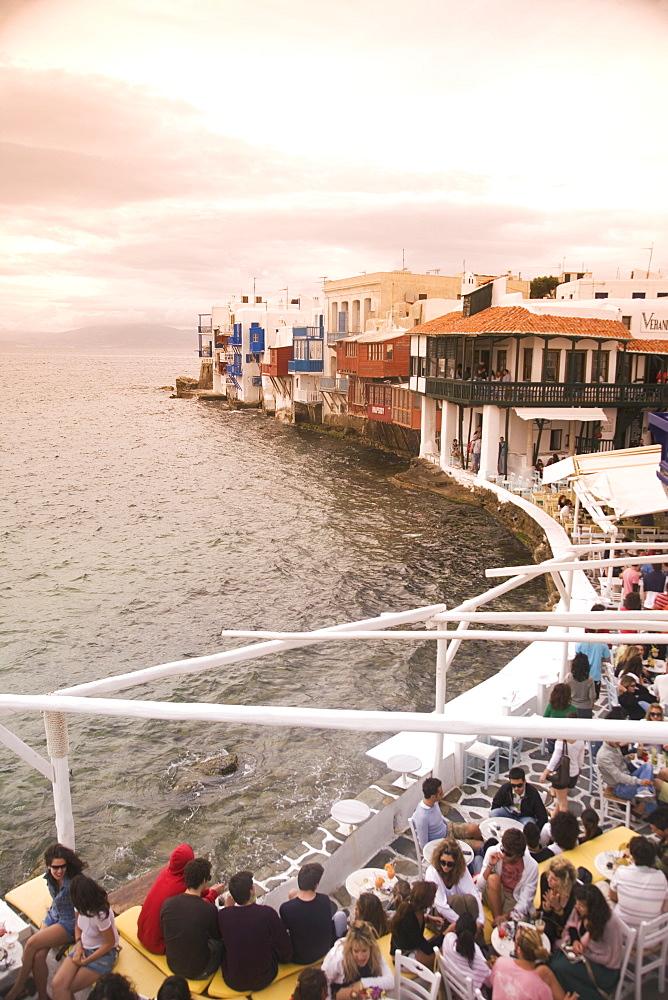 Little Venice, Chora, Mykonos, Cyclades, Greek Islands, Greece, Europe