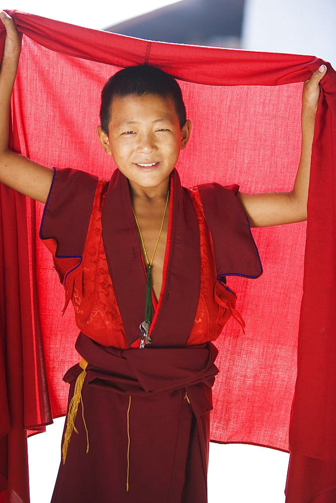 Young Buddhhist monk, Punakha Dzong, Punakha, Bhutan, Asia - 772-153
