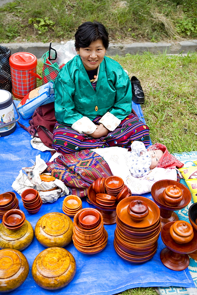 Market during Buddhist festival (Tsechu), Thimphu, Bhutan, Asia - 772-199