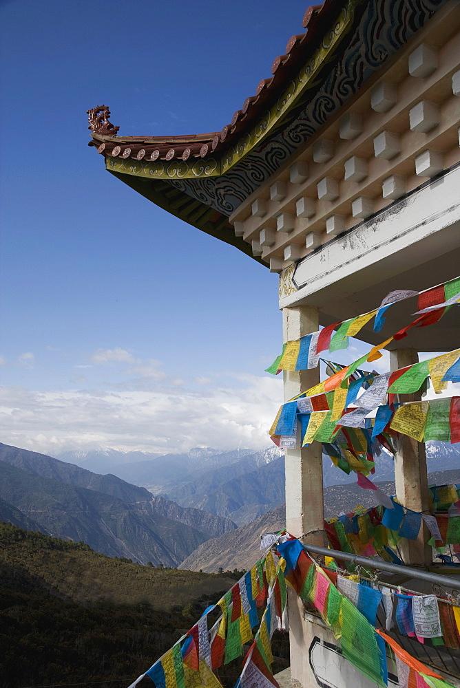 Buddhist stupa and prayer flags, Deqin, called Shangri-La, near the Tibetan Border, Shangri-La region, Yunnan Province, China, Asia