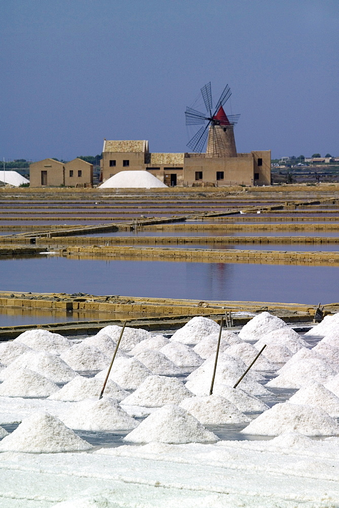 Salt pans, Saline, Sicily, Italy, Europe