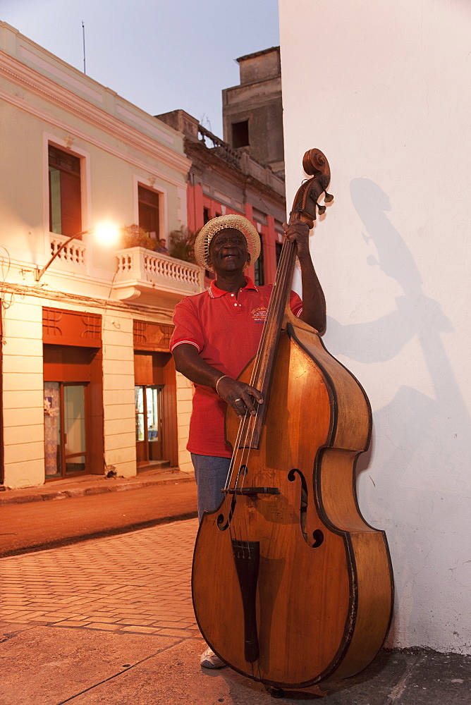Bass player, Santiago de Cuba, Cuba, West Indies, Central America