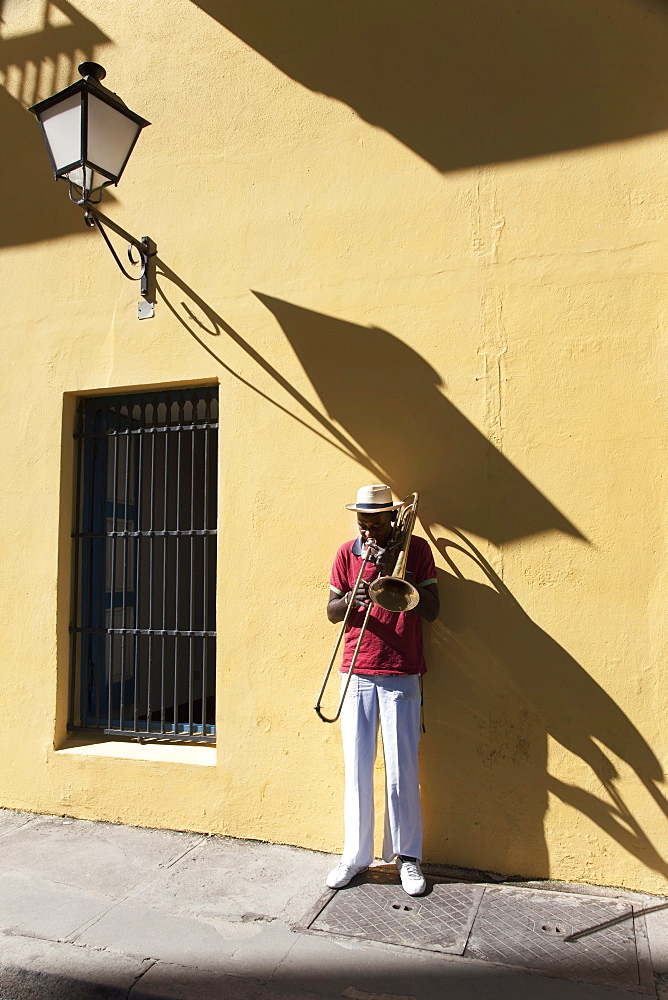 Trombone player, Havana, Cuba, West Indies, Central America