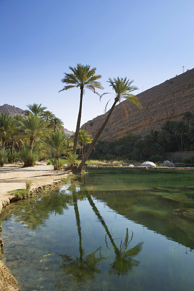 Wadi Bani Khalid, an oasis in the desert, Oman, Middle East