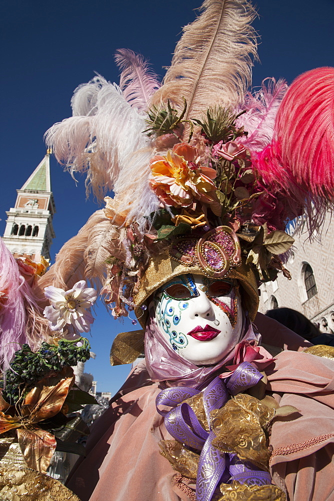 Mask in San Marco Square during Venice Carnival, Venice, UNESCO World Heritage Site, Veneto, Italy, Europe