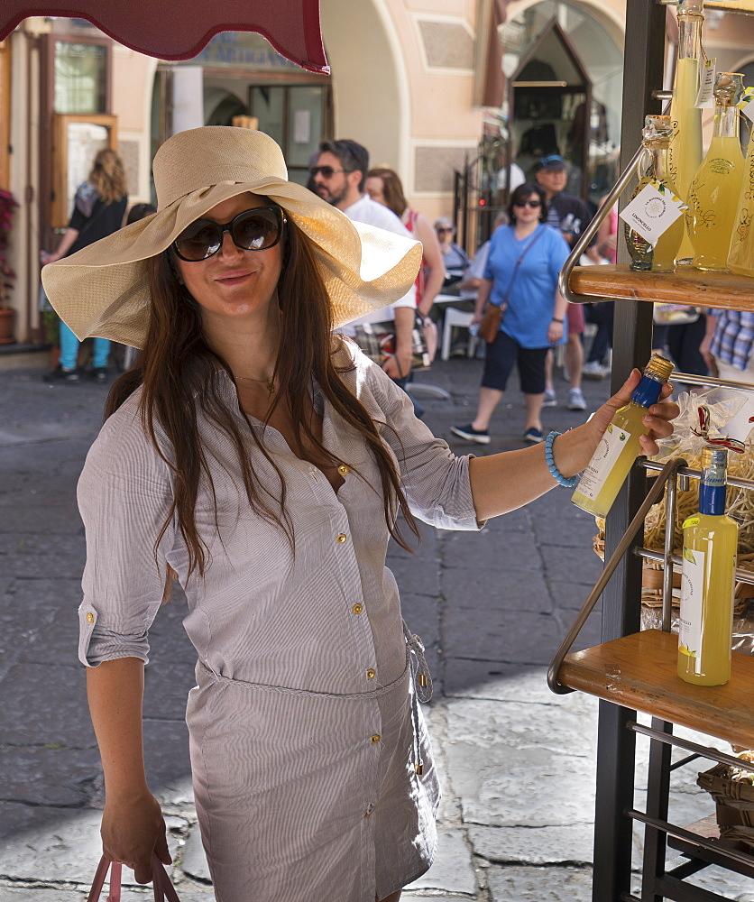 Woman shopping in the streets of Amalfi, on the Amalfi Coast, Campania, Italy, Europe - 772-3754