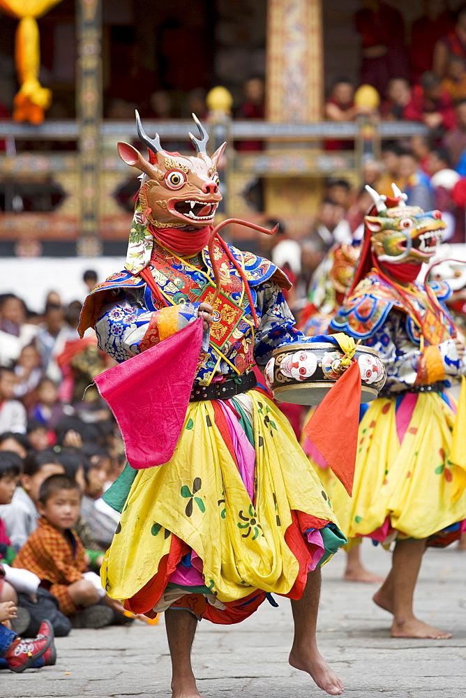 Buddhist festival (Tsechu), Trashi Chhoe Dzong, Thimphu, Bhutan, Asia - 772-377
