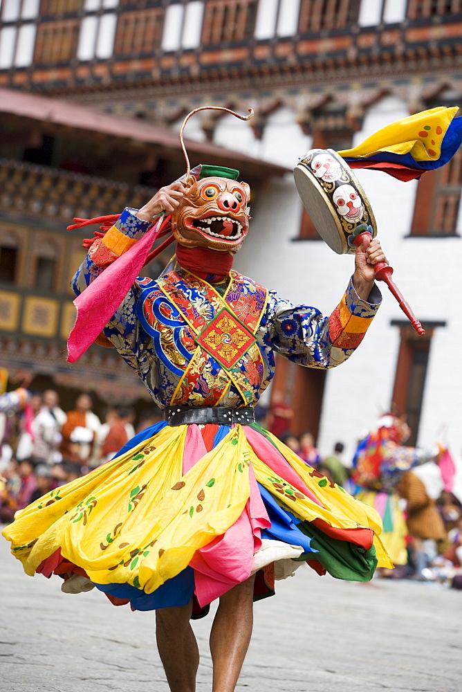 Buddhist festival (Tsechu), Trashi Chhoe Dzong, Thimphu, Bhutan, Asia - 772-378