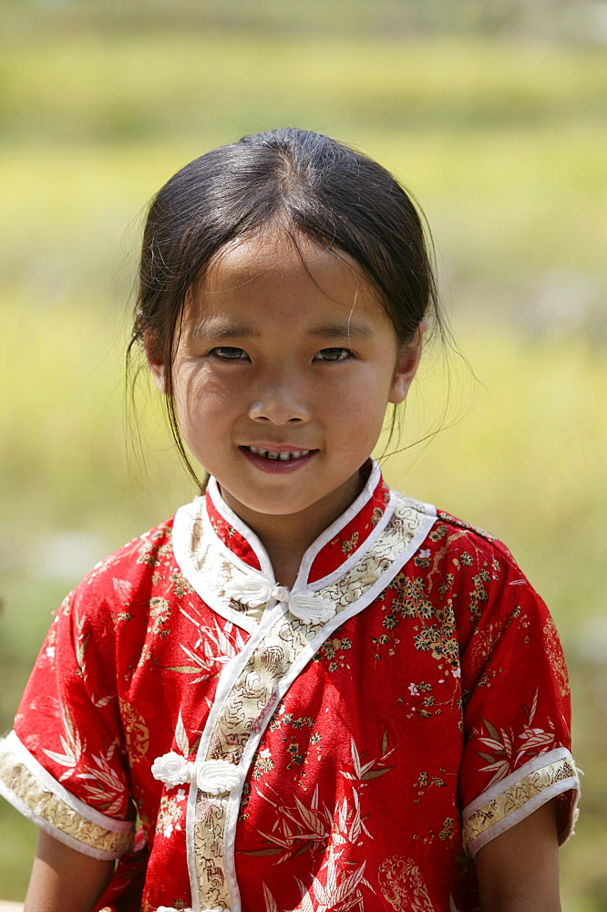 Girl of Yao minority, Longsheng terraced ricefields, Guilin, Guangxi Province, China, Asia