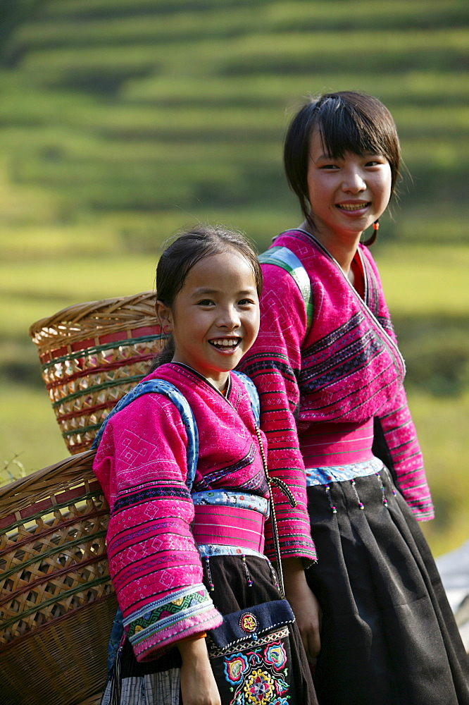 Girls of Yao minority, Longsheng terraced ricefields, Guilin, Guangxi Province, China, Asia