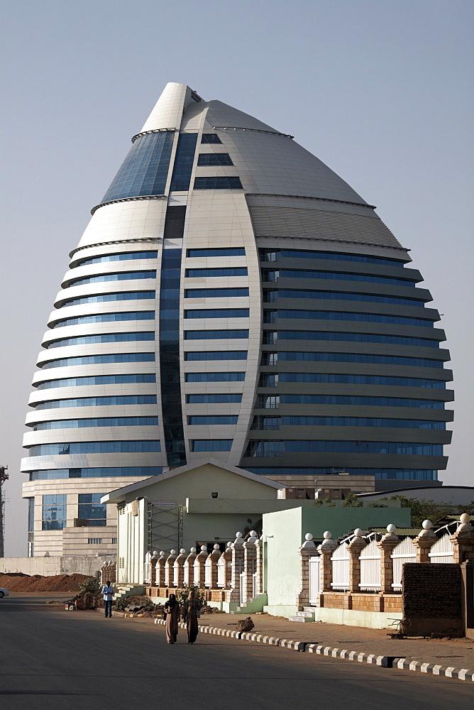 The 5-star Boji Al-Fateh Hotel (Libyan Hotel), designed to represent a sail, Khartoum, Sudan, Africa