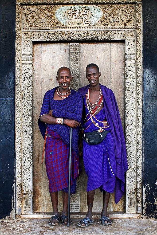 Maasai tribesmen on the island of Lamu, Kenya, East Africa, Africa - 774-746